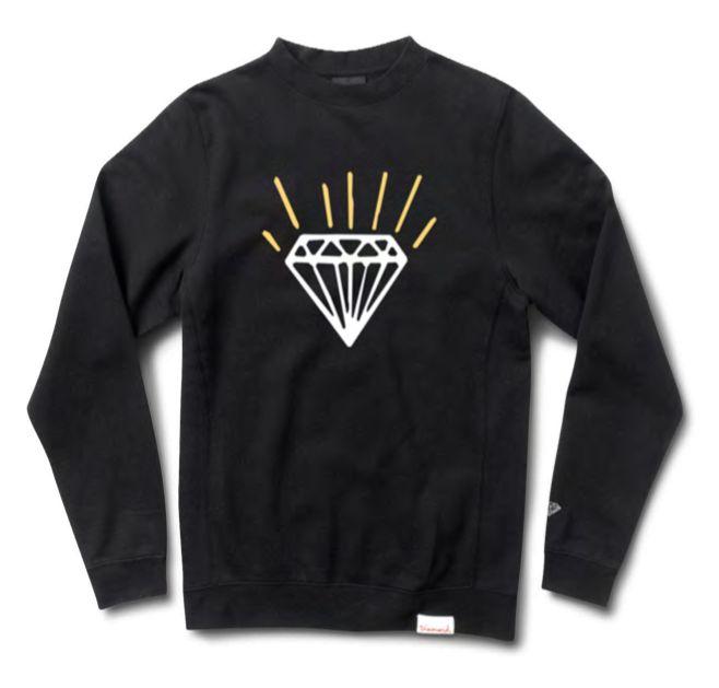 DIAMOND DIAMOND, GEM CREWNECK, BLACK