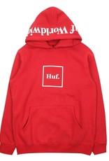HUF HUF, OUTLINE BOX LOGO P/O HOODIE, RED