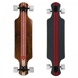Saterno Double Down Longboard Red Leaf donker
