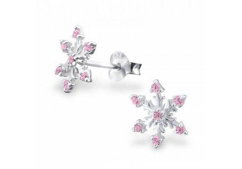 925 ZILVER Sneeuwvlok roze   925 zilver