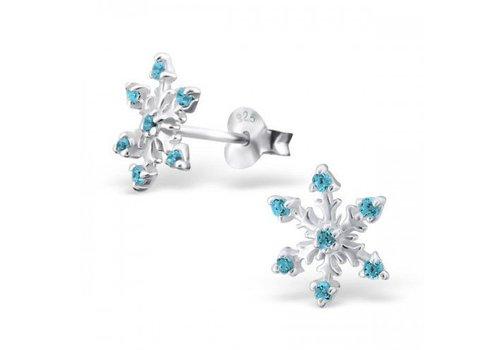 925 ZILVER Sneeuwvlok blauw   925 zilver