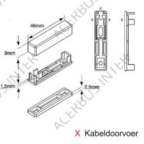 Opbouwbehuizing voor magneetcontact