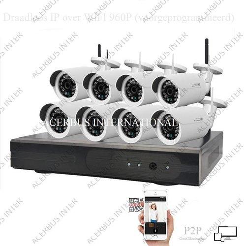 Draadloze IP HD cameraset 1080P Radius PRO, inclusief 8 all-in-one camera's + voeding