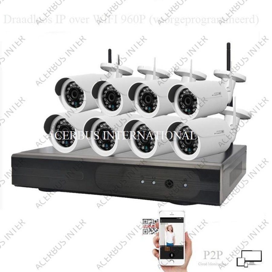 Draadloze HD cameraset, inclusief 8 all-in-one camera's + voeding