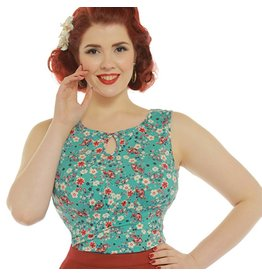 Lindy Bop 'Daisy' Ditsy Floral Turquoise Top
