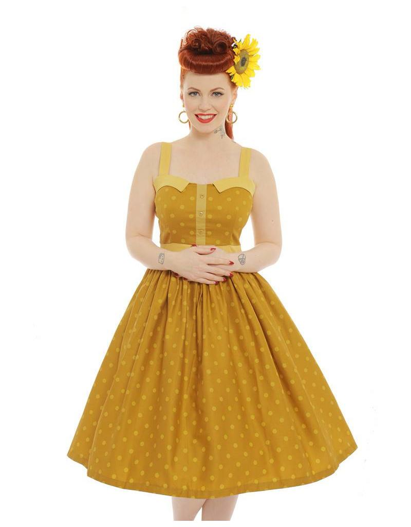 Lindy Bop 'Imelda' Mustard Dress