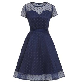 Lindy Bop 'Abbie' Blue Polka Dot Dress