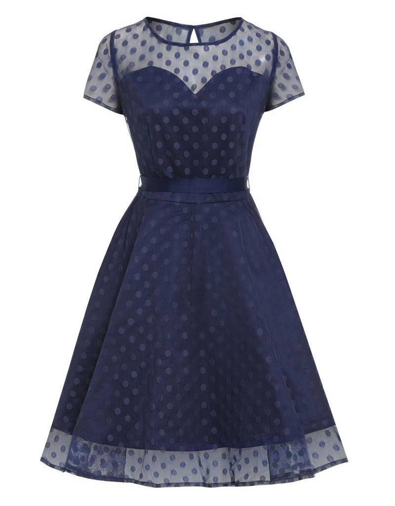 Lindy Bop 'Abbie' Blue Polka Dot Dress
