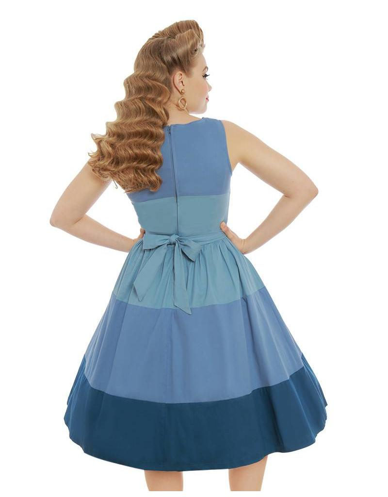 Lindy Bop 'Audrey' Blue Striped Dress
