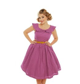 Lindy Bop Pink Polka Dot Print Dress