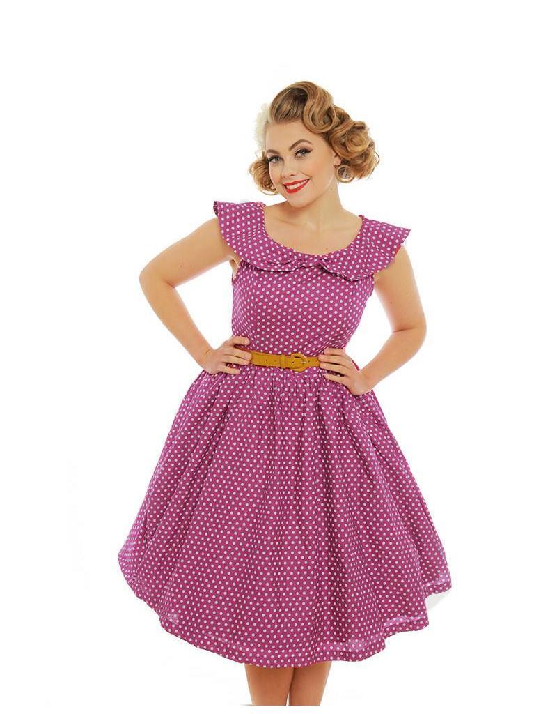 Lindy Bop Pink Polka Dot Print Dress