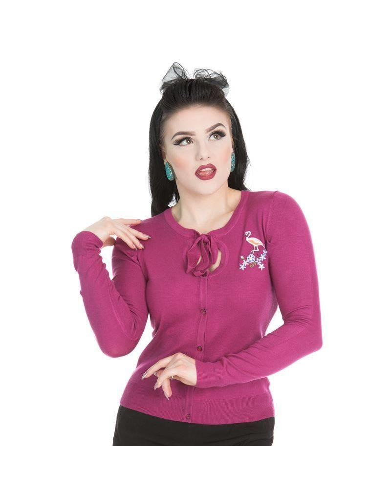 Hearts & Roses Jean Flamingo Cardigan - Wine