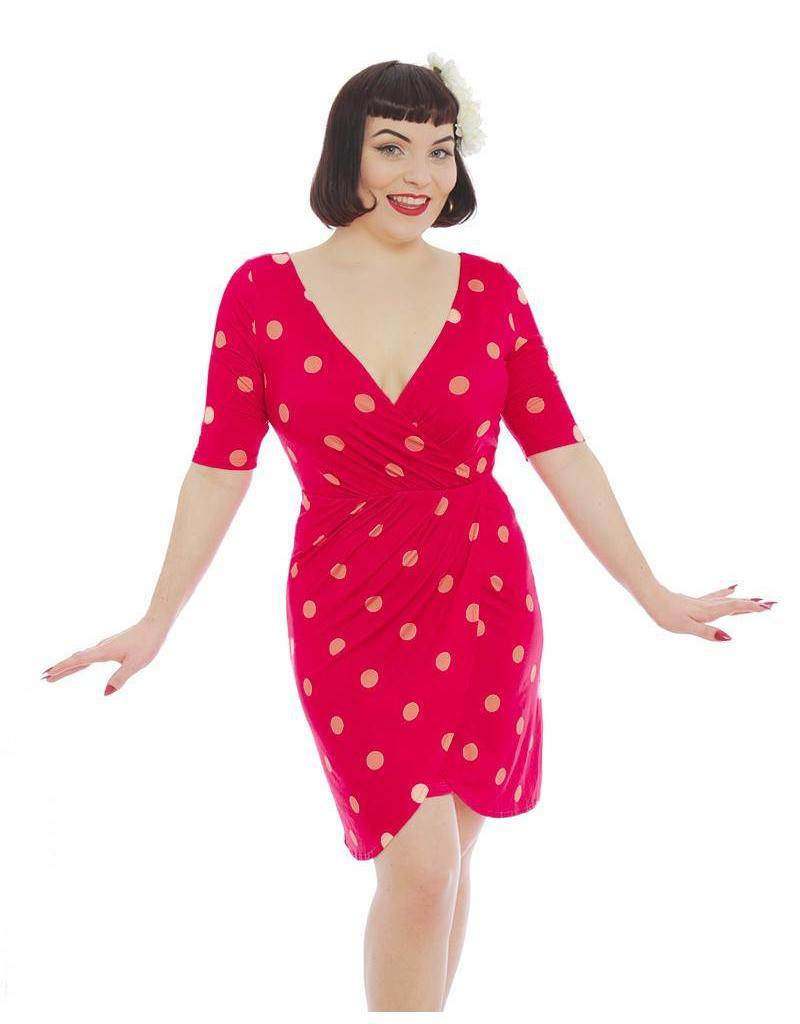 Lindy Bop 'Tanya' Pink Polka Dot Dress