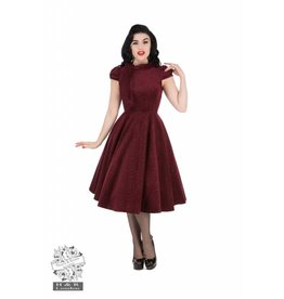 Hearts & Roses Burgundy Velvet Flocked Dress