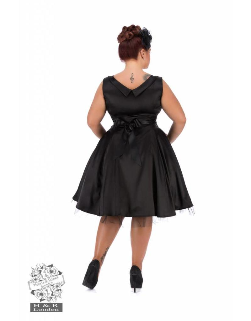 Hearts & Roses Black Satin 50s Dress
