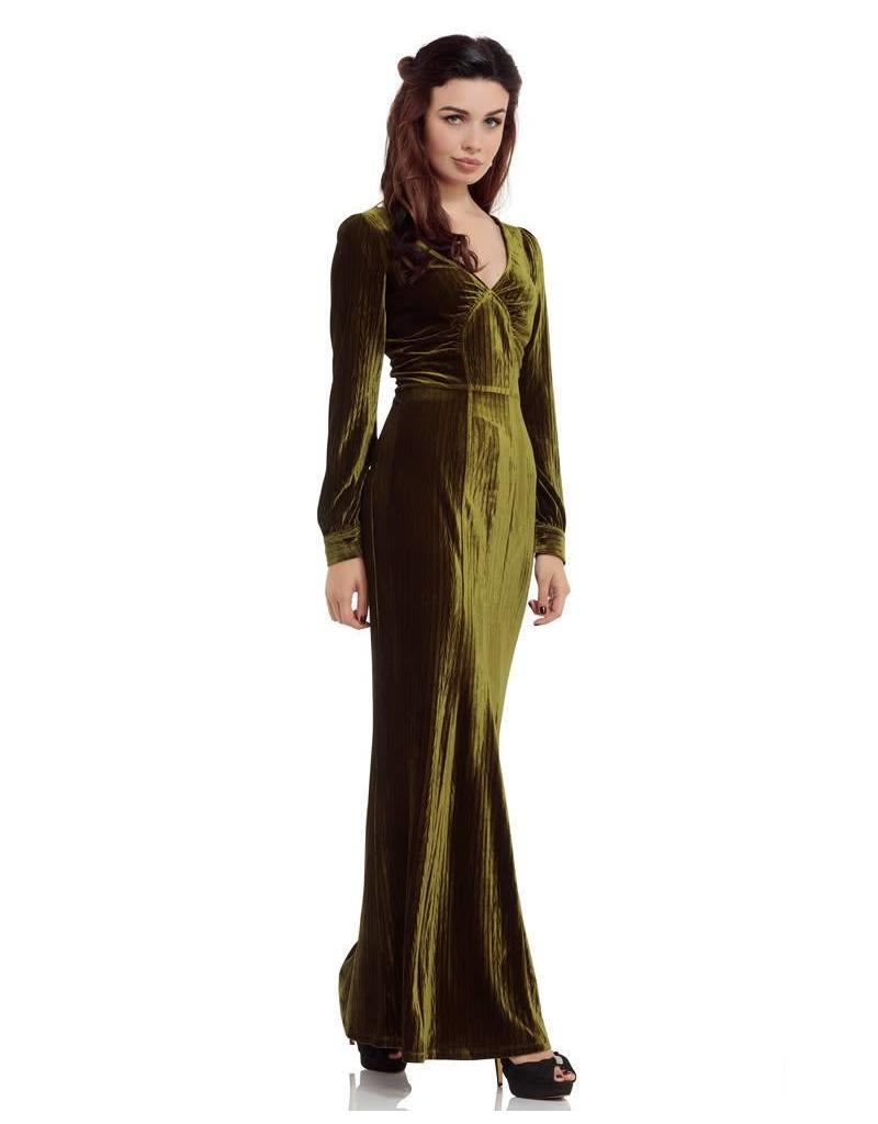 Voodoo Vixen Olive 30s Green long dress