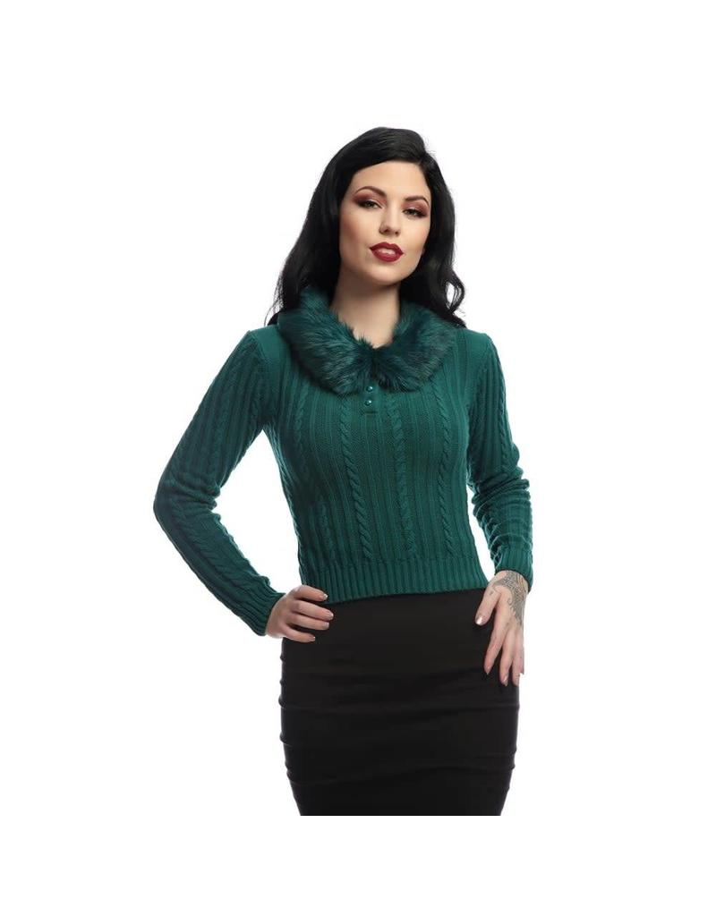 Collectif Felicity Faux Fur Collar Jumper
