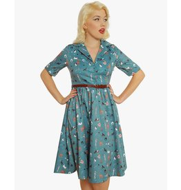 Lindy Bop 'Bletchley' Teal Dog Print Swing Dress