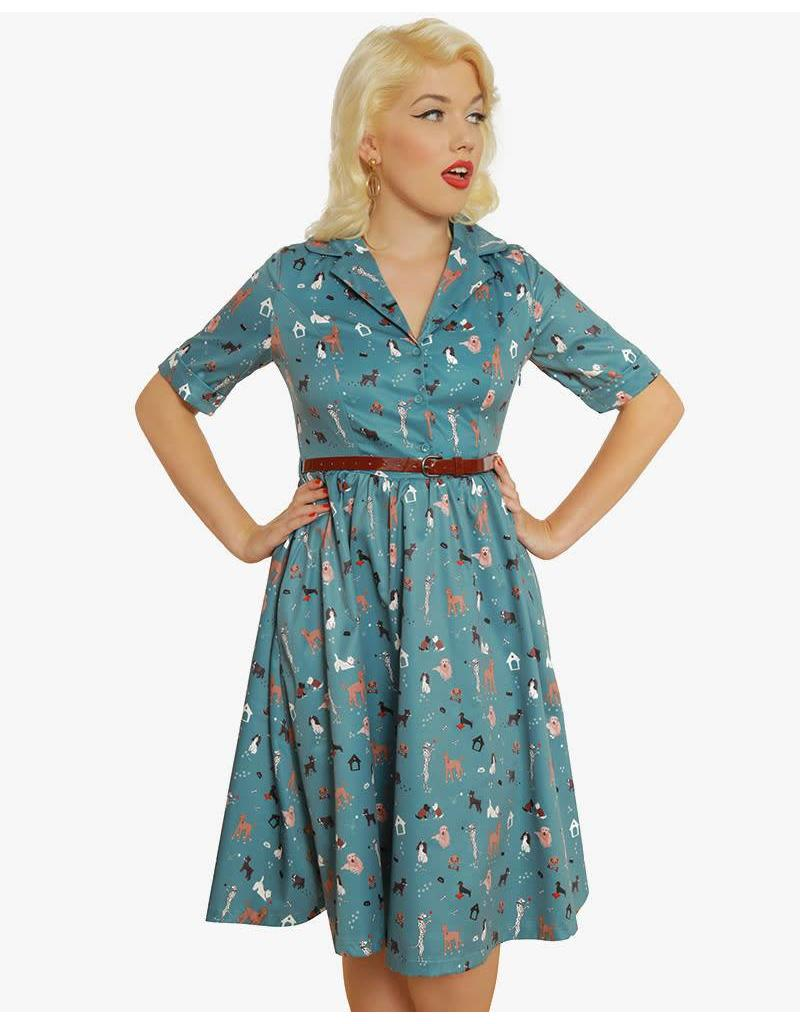Lindy Bop 'Bletchley' Teal Dog Print Swing Dress