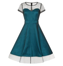 Lindy Bop Leona Teal Polka Dot Dress