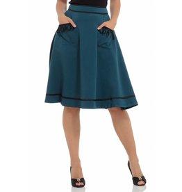 Voodoo Vixen Sarah Teal Midi Skirt