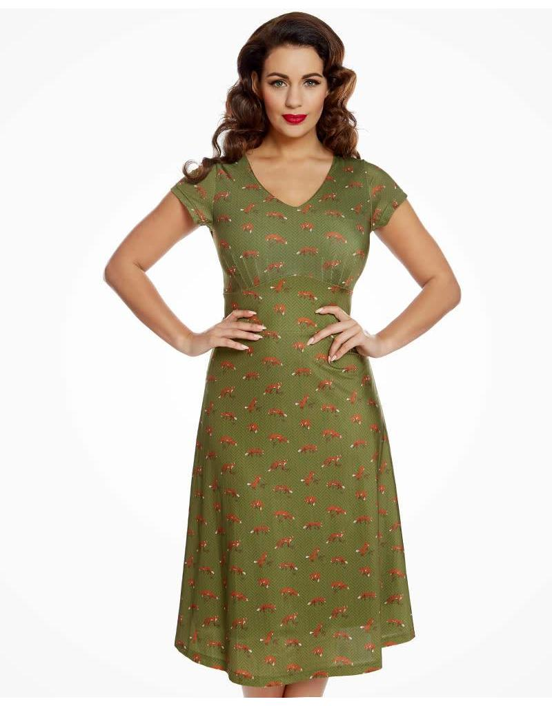 Lindy Bop 'Jasmina' Sage Fox Print Dress