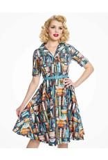 Lindy Bop 'Bletchley' Book Print Dress