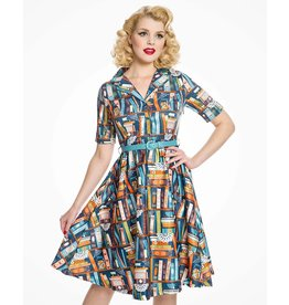 Lindy Bop 'Bletchley' Book Print Dress
