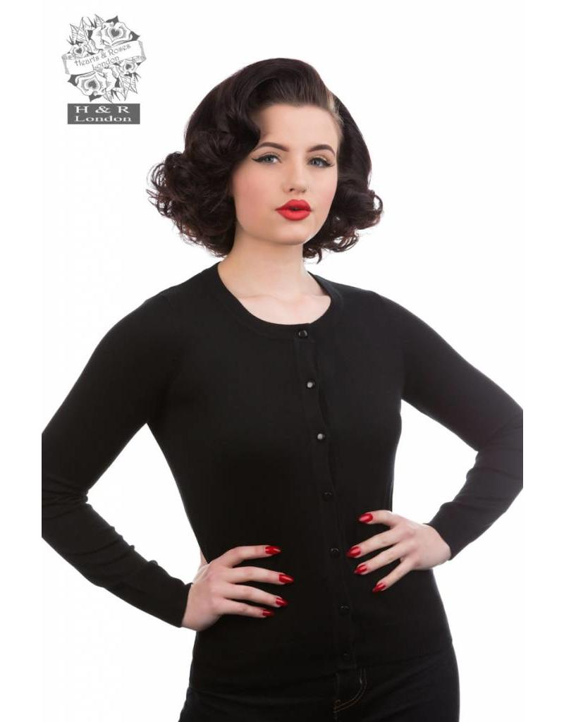 Hearts & Roses Black cardigan - long sleeves