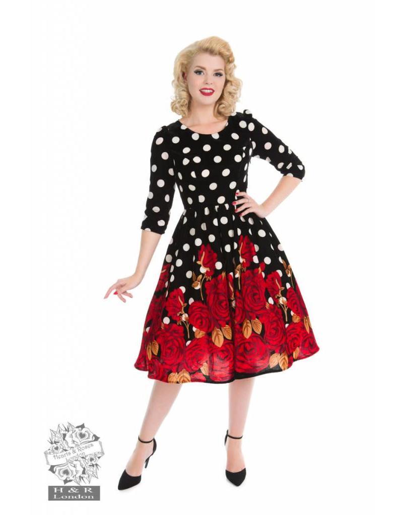 Hearts & Roses Red Roses Velvet Dress