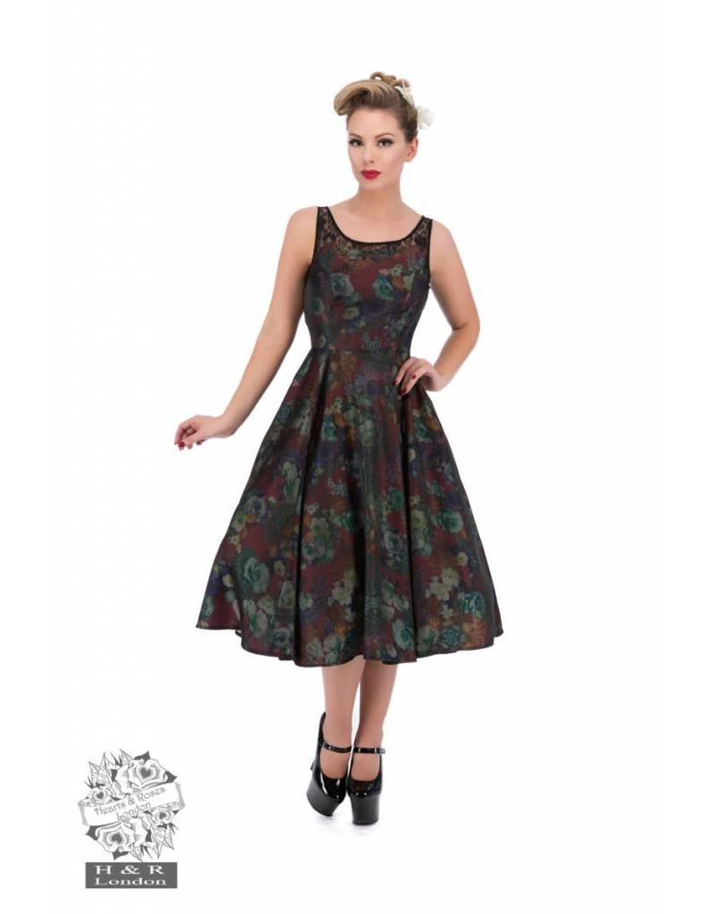 Hearts & Roses Lilac and Burgundy Floral Swing Dress