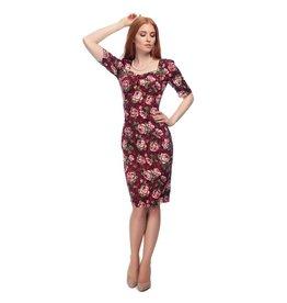 Collectif Dolores Half Sleeve Bloom Pencil Dress