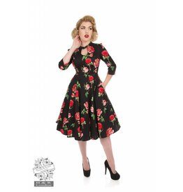 Hearts & Roses Black Red Roses Dress
