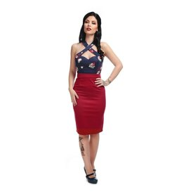 Collectif Classic Cotton Pencil Skirt - red