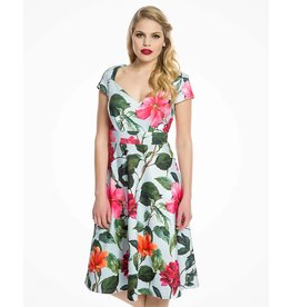 Lindy Bop 'Chardonnay' Blue Floral Dress