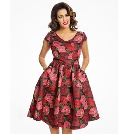 Lindy Bop 'Gabianna' Raindrop Rose Dress