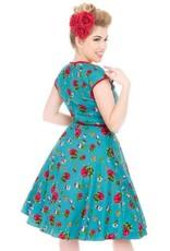 Lady V Isabella Dress - Petite Roses on Teal