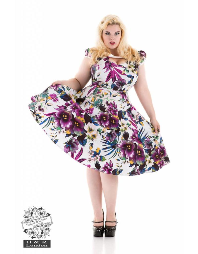 Hearts & Roses White Purple Pansies Floral Swing Dress