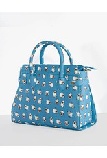 Lindy Bop 'Tonja' Turquoise Pug Print Handbag