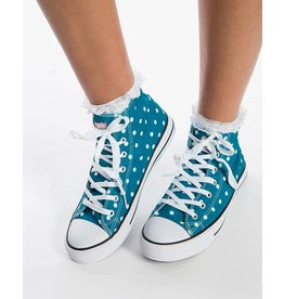 Lindy Bop Teal Polka Dot Hi-Top Sneakers