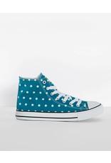 Lindy Bop Teal Polka Dot Hi-Top Sneakers