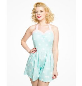 Lindy Bop 'Lauren' Mint Polka Dot Playsuit