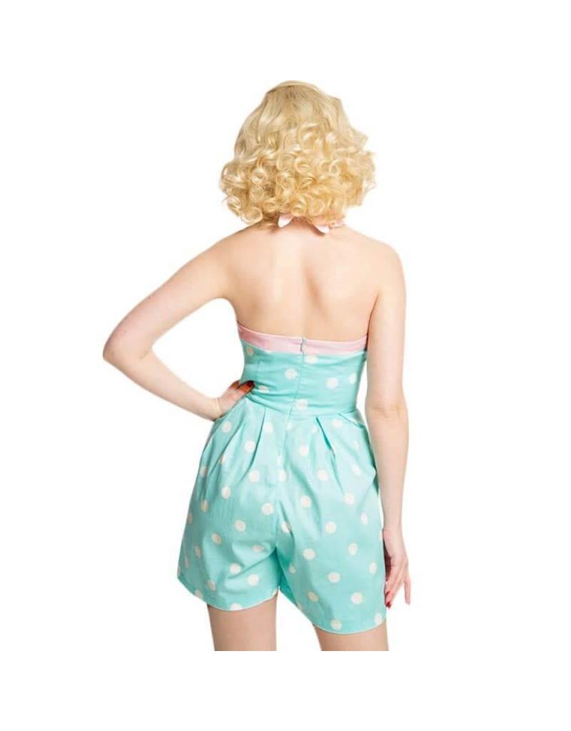 Lindy Bop 'Lauren' Mint Polka Dot Playsuit