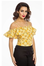 Lindy Bop 'Charo' Yellow Gingham Floral Top