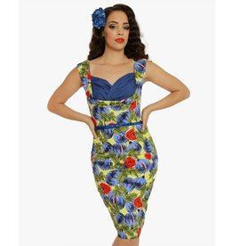 Lindy Bop 'Vanessa' Fig Print Pencil Dress