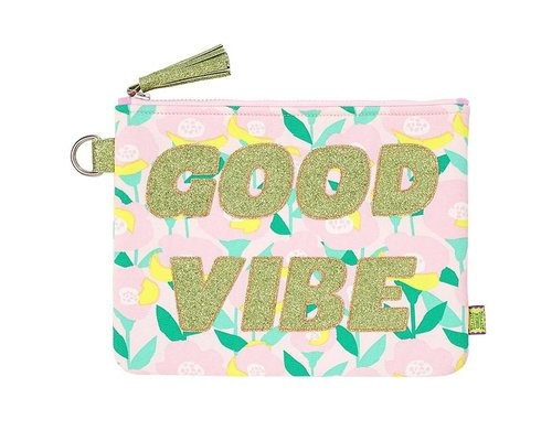 Happy Summer Poppy in Pink Zip Pouch GOOD VIBE