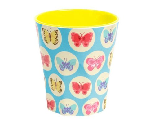 Happy Butterflies Large Melamine Cup - Blue