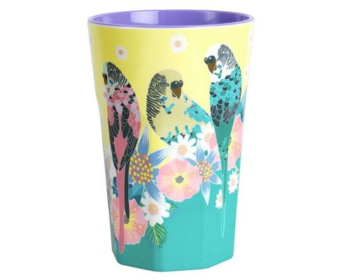 Singing with the Birds Extra Large Melamine Cup Budgies - Yellow