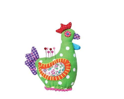 Happy Chicken Pin Cushion - Green