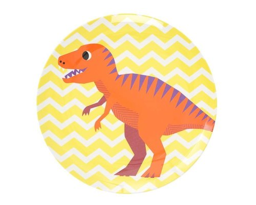 Happy Dinosaurs Kids Melamine Lunch Plate - Yellow